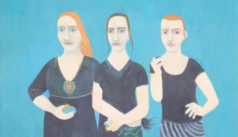 Hana Puchová, Tři sestry, akryl, plátno_detail