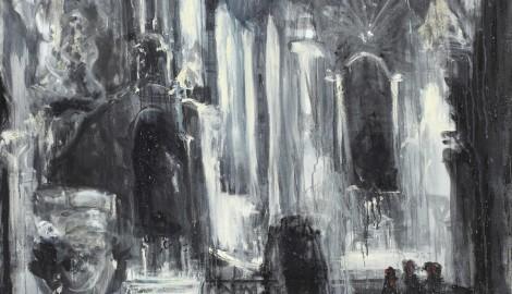 8_Jakub Špaňhel, Po mši v Předklášteří, 2003, akryl, olej, plátno, 220 x 160 cm, Galerie Klatovy, Klenová
