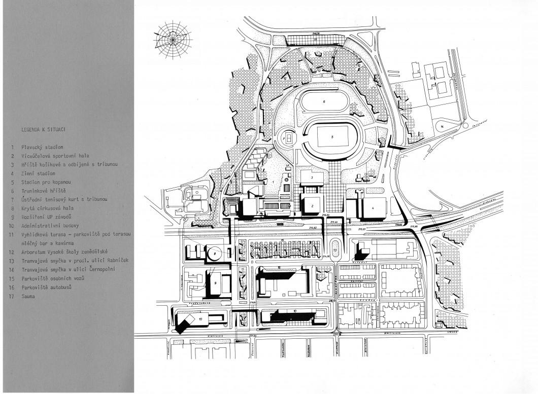 Otakar Oplatek, územní studie areálu za Lužánkami, 1968. Oddělení architektury a urbanismu MMB, nezpracovaný fond Otakar Oplatek