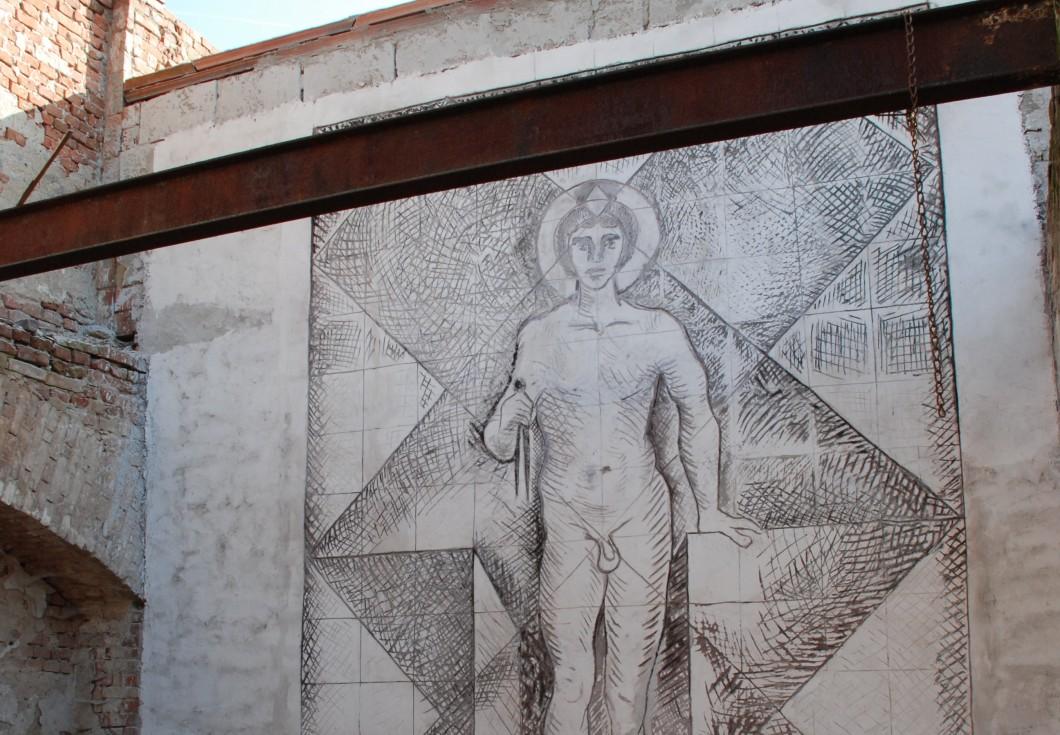 Michal Blažek: návrh sgrafita na fasádu Domu umění města Brna