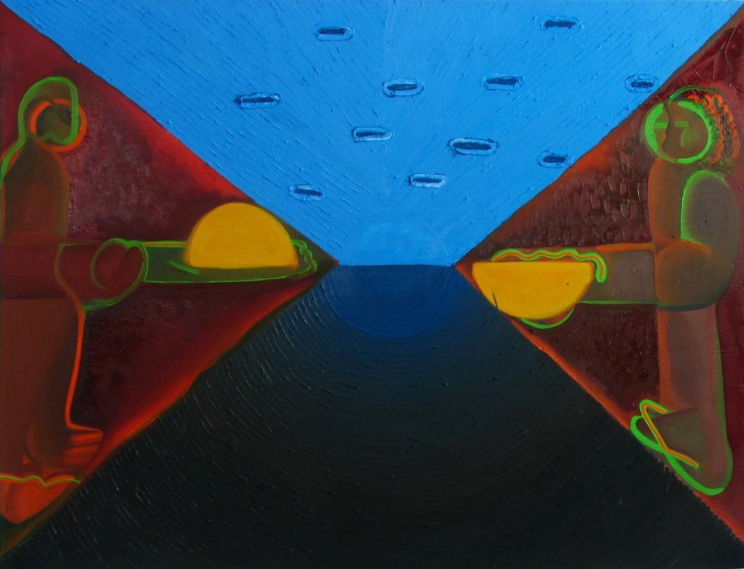 1. Burácející se slunce, 100x130, olej na plátně, 2015