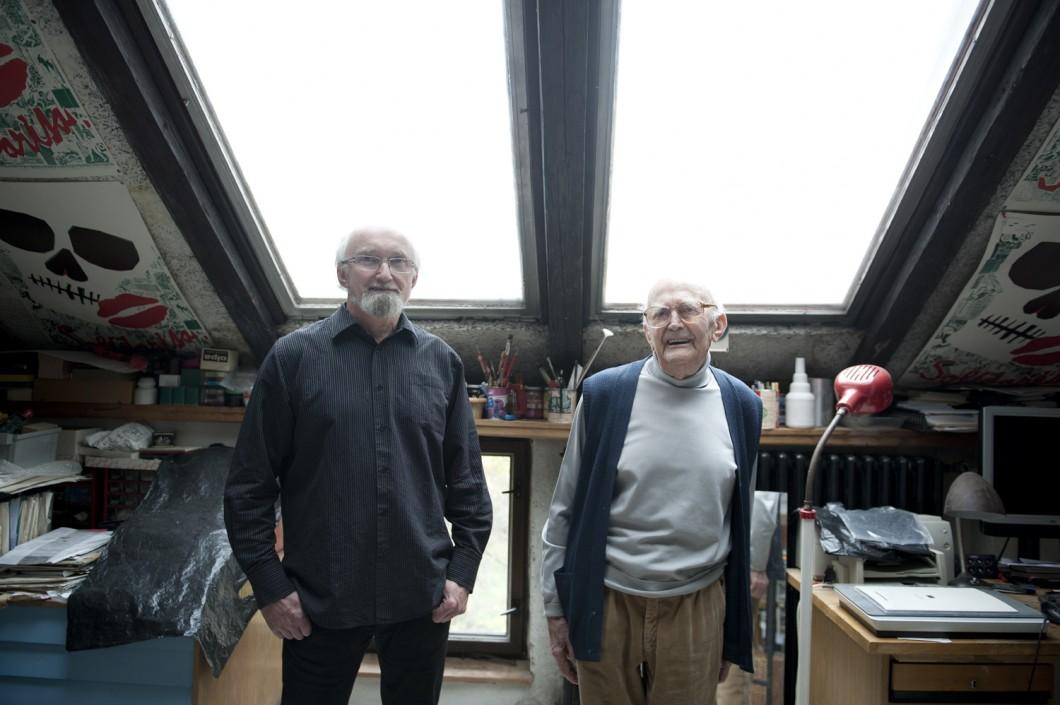 Jan Rajlich ml. a Jan Rajlich st. ve svém brněnském ateliéru, foto: Daniela Dostálková