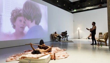LONDON, ENGLAND - JULY 13:  Ragnar Kjartansson exhibition installation view at Barbican Art Gallery on July 13, 2016 in London, England. The exhibition runs from the 14th July - 4th of September 2016. Courtesy of the artist, Luhring Augustine New York and i8 gallery Reykjavik.  (Photo by Tristan Fewings/Getty Images for Barbican Art Gallery)