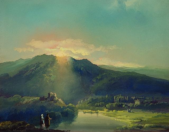Josef M. Navrátil, Západ slunce, 50. léta 19. století, Západočeská galerie v Plzni(1)