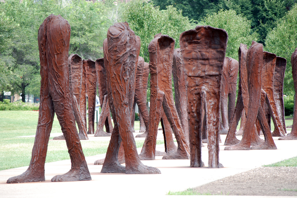 Agora is the name of a group of 106 headless and armless iron sculptures at the south end of Grant Park