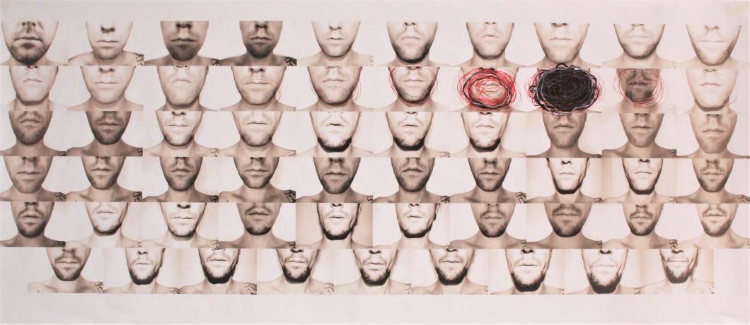 AFTERhuman - pracovný list č.1 (tlač na papieri+gestický zásah (tužka, rudka, fixa)) 52x115cm, 2017