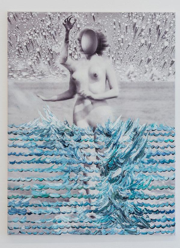 Jiri David, detail instalace, obraz Vysoky priliv, 2017