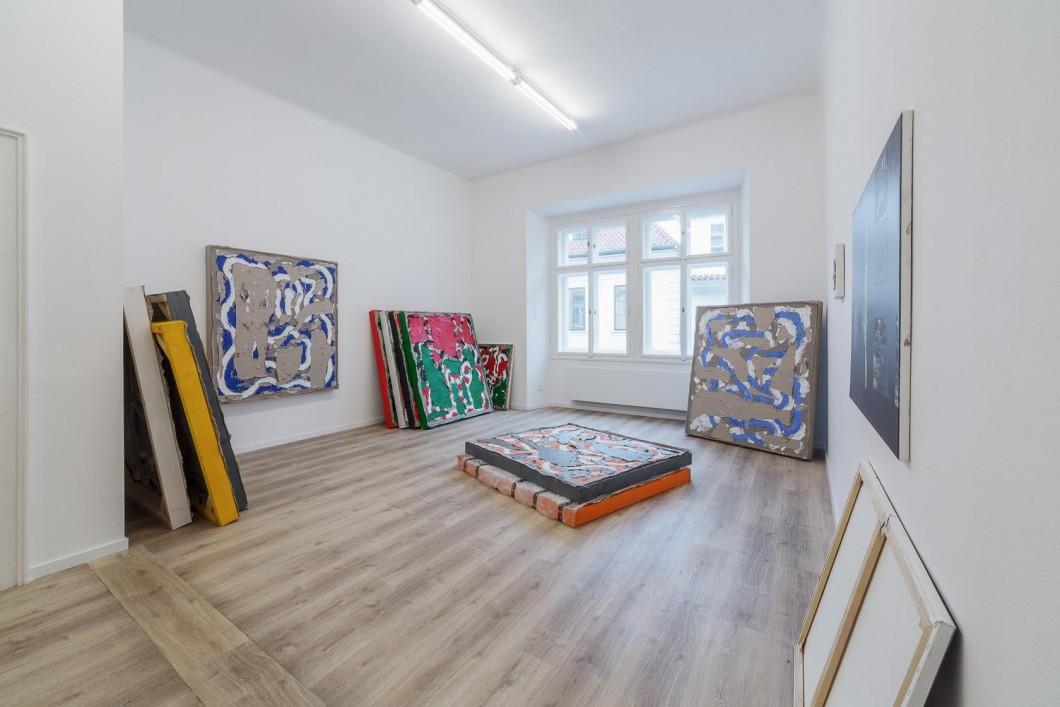 Namor Ynrobyv, pohled instalace, obrazy, 2017