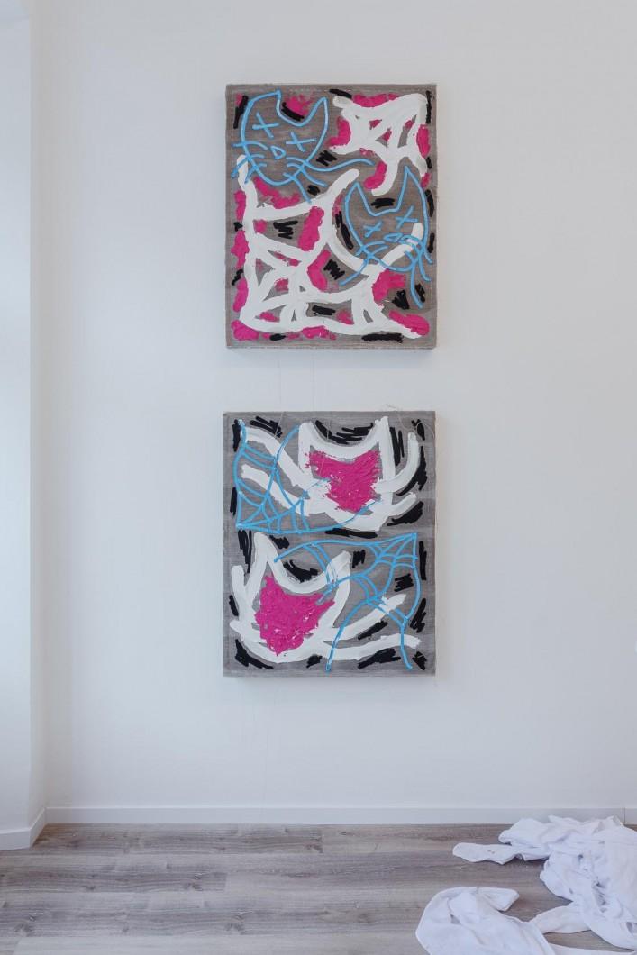 Namor Ynrobyv,, pohled instalace, obrazy,, 2017