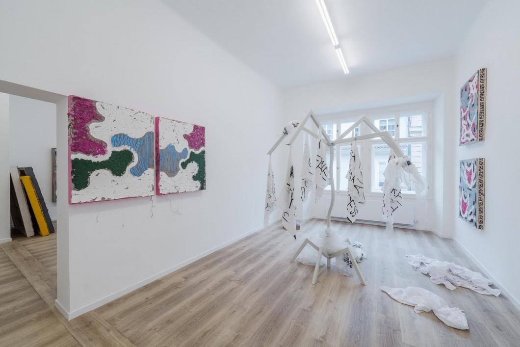 Namor Ynrobyv,,, pohled instalace, obrazy, 2017