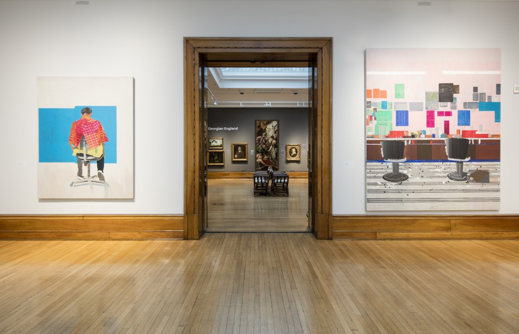 'Peter's Sitters II, 2009' (left) and 'Flat Top, 2008' by Hurvin Anderson. The Turner Prize Exhibition. Ferens Art Gallery. Hull. Photograph by David Levene 23/9/17
