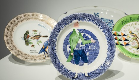 'Swallow Hard: The Lancaster Dinner Service, 2007' by Lubaina Himid. The Turner Prize Exhibition. Ferens Art Gallery. Hull. Photograph by David Levene 23/9/17
