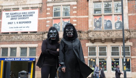EMBARGOED TO 0001 FRIDAY SEPTEMBER 30 EDITORIAL USE ONLY The Guerrilla Girls, a group of anonymous feminist activists founded in 1985, unveil a banner on the faade of the Whitechapel Gallery in London to launch their new campaign Ð Guerrilla Girls: Is it even worse in Europe?, which will be visible both inside and outside the gallery and will run from 1 October 2016 to 5 March 2017. PRESS ASSOCIATION Photo. Issue date: Friday September 30, 2016. For over three decades the Guerrilla Girls have been exposing and challenging sexism and racism in the visual arts, politics and culture at large, and now for the first time the group have revisited their 1986 campaign ÔItÕs Even Worse in EuropeÕ with an update for 2016. The banner is inspired by questionnaires the activists sent to 383 museums and art spaces in 2016 asking for statistics on the representation of artists in recent exhibitions who are female, gender nonconforming or from Africa, Asia, South Asia and South America. Photo credit should read: David Parry/PA Wire