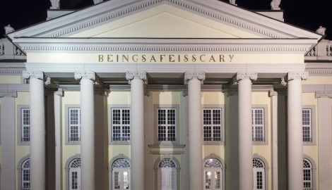Banu Cennetoğlu (b. 1970, Ankara) BEINGSAFEISSCARY (2017) Ten aluminium letters borrowed from the Fridericianum and six letters cast in brass after the existing ones Based on gra ti existing on a wall at the National Technical University of Athens as of April 6, 2017 57.5 × 1085 × 1 cm overall Coproduced with Kunstgiesserei St. Gallen, Sitterwerk, Switzerland Friedrichsplatz